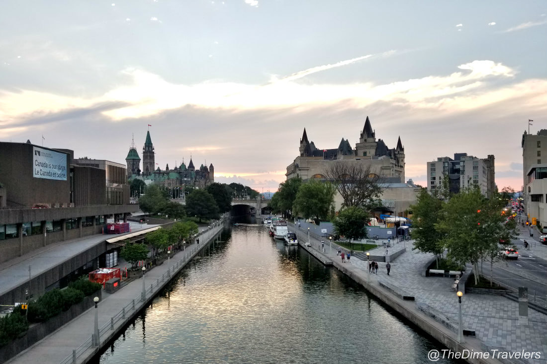 Ottawa Parliament Hill, Chateau Laurier and Rideau Canal at Sunset
