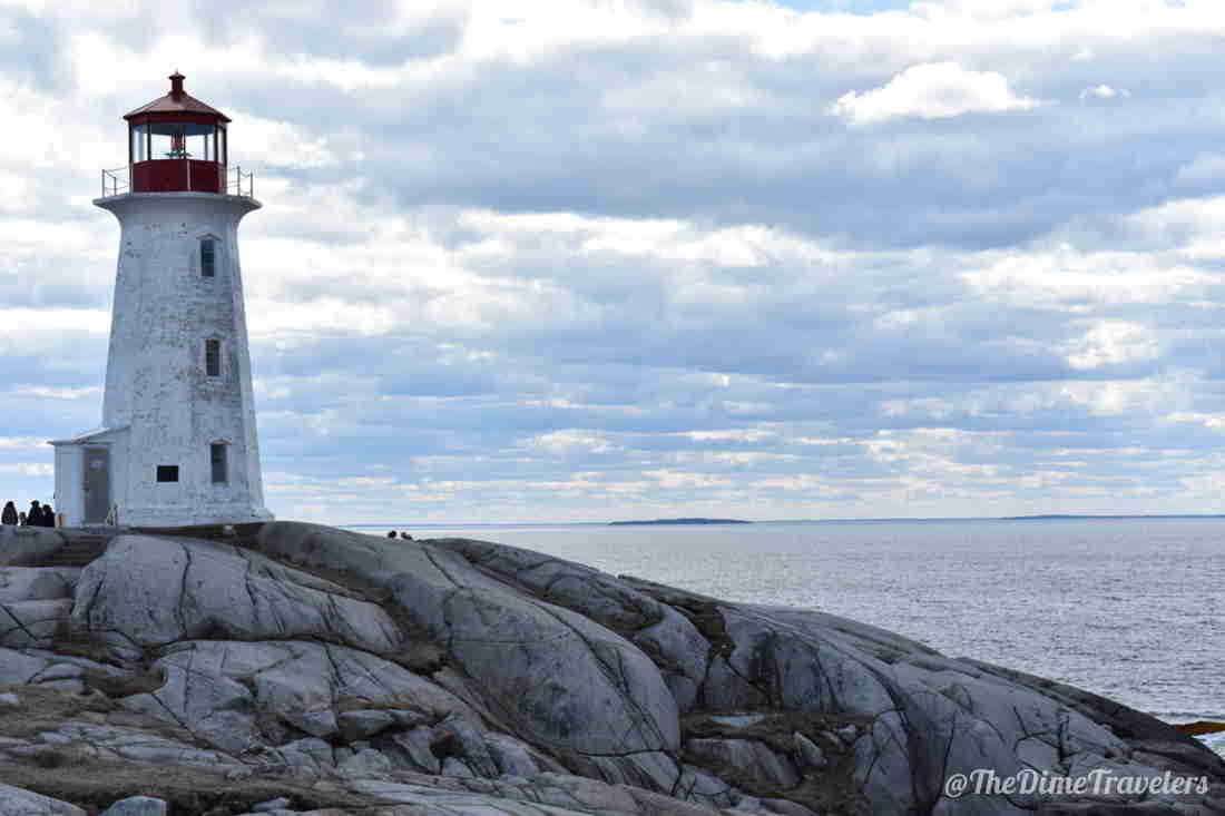 Peggys Cove Lighthouse with rocks and ocean